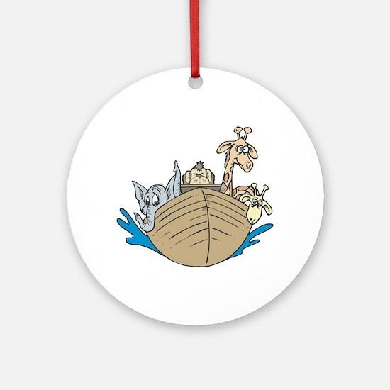 Cute Noah's Ark Design Ornament (Round)