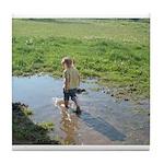 Girl splashing Tile Coaster