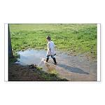 Boy splashing Rectangle Sticker