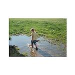 Girl splashing Rectangle Magnet