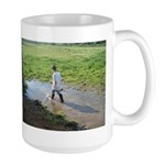 Boy splashing Large Mug