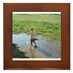 Girl splashing Framed Tile