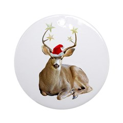 Christmas Stag Ornament (Round)
