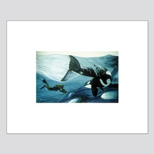 Orca & Diver Small Poster