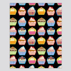 Cute Cupcakes On Black Background Posters