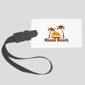 Miami Beach - Palm Trees Design. Large Luggage Tag