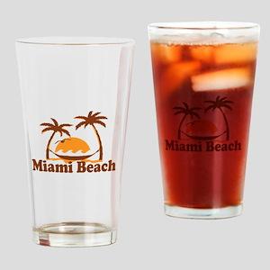Miami Beach - Palm Trees Design. Drinking Glass