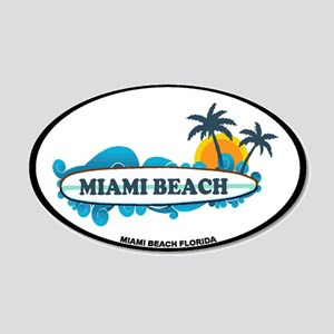 Miami Beach - Surf Design. 20x12 Oval Wall Decal
