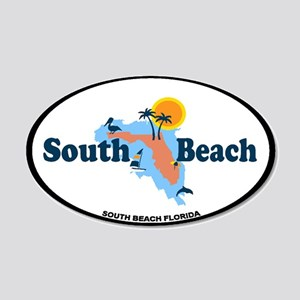 South Beach - Map Design. 20x12 Oval Wall Decal