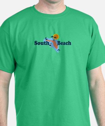 South Beach - Map Design. T-Shirt
