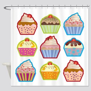 Cute Cupcakes Shower Curtain