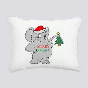 MERRY XMAS ELEPHANT Rectangular Canvas Pillow