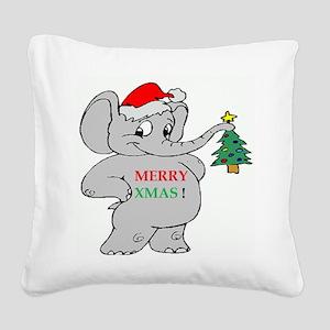 MERRY XMAS ELEPHANT Square Canvas Pillow
