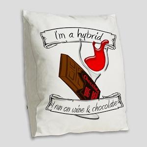 Wine Chocolate Hybrid Burlap Throw Pillow