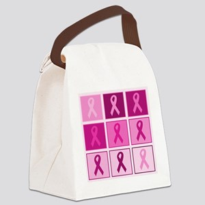Pink Ribbon Multi pink Canvas Lunch Bag