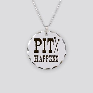 Pit Happens Necklace Circle Charm