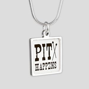 Pit Happens Silver Square Necklace