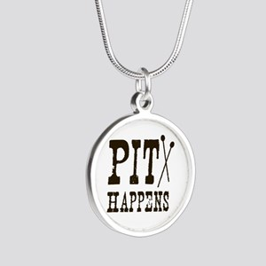 Pit Happens Silver Round Necklace