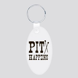 Pit Happens Aluminum Oval Keychain