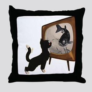 Black Cat and Fish Throw Pillow