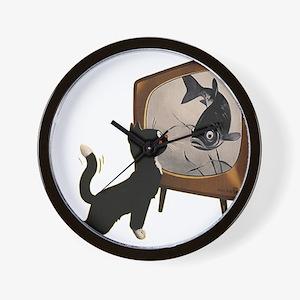 Black Cat and Fish Wall Clock