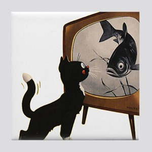Black Cat and Fish Tile Coaster