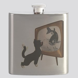 Black Cat and Fish Flask