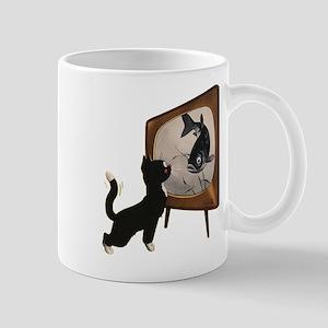 Black Cat and Fish Mug