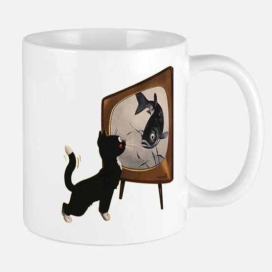 Black Cat and Fish Mug