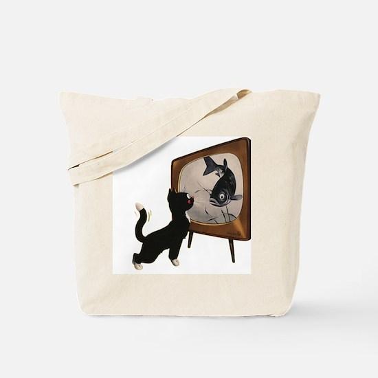 Black Cat and Fish Tote Bag