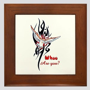 Whoo Are You Owl Tribal Framed Tile