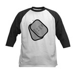 My Dad is a Soldier dog tag Kids Baseball Jersey