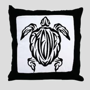 Rene Sea Turtle Tribal Tattoo Throw Pillow