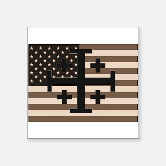 "American Crusader Square Sticker 3"" x 3"""
