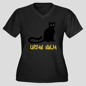 Urban Ninja Women's Plus Size Dark V-Neck T-Shirt