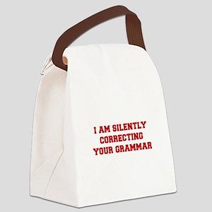 I-am-silently-grammar-fresh-brown Canvas Lunch Bag