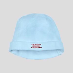 I-am-silently-grammar-fresh-brown baby hat