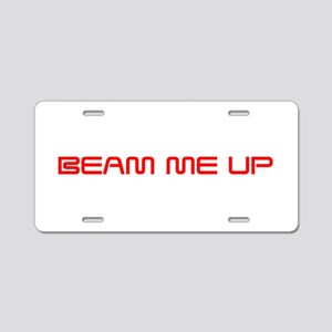 beam-me-up-saved-red Aluminum License Plate