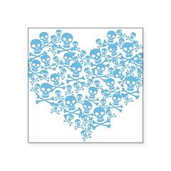 skullheartblue Square Sticker 3