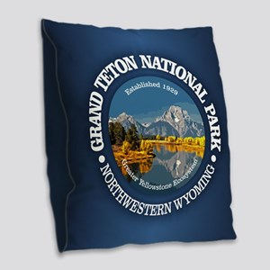Grand Teton NP Burlap Throw Pillow