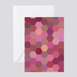 Pink Hexagons Greeting Cards