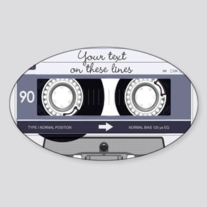 Customizable Cassette Tape - Grey Sticker (Oval)
