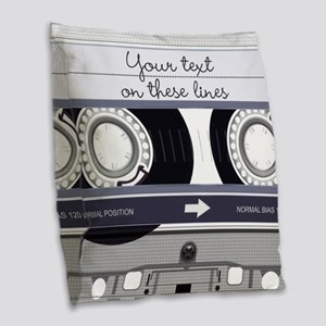 Customizable Cassette Tape - G Burlap Throw Pillow