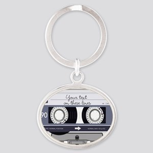 Customizable Cassette Tape - Grey Oval Keychain