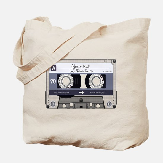 Customizable Cassette Tape - Grey Tote Bag