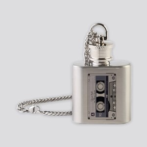 Customizable Cassette Tape - Grey Flask Necklace