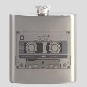 Customizable Cassette Tape - Grey Flask