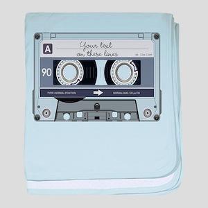 Customizable Cassette Tape - Grey baby blanket