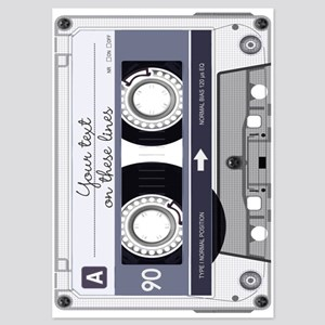 Customizable Cassette Tape - Grey 5x7 Flat Cards