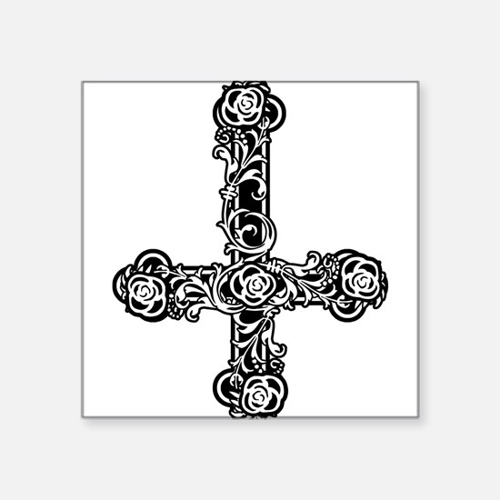 "goth-cross-invert_bk.png Square Sticker 3"" x 3"""